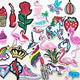 Mosheng Accessory 25pcs DIY Embroidery Birds Animals Patches Mix Patterns Iron On/Sew On Applique For Clothes Backpacks T-shirt Jeans Skirt Vests Scarf Hat Bag (Style 3)