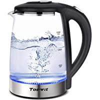Topwit Electric Kettle Glass Water Heater Boiler, 2L Water Warmer Cordless with LED Light, Stainless Steel Lid & Bottom, Tea Kettle with Fast Heating, Auto Shut-Off & Boil Dry Protection, Upgraded