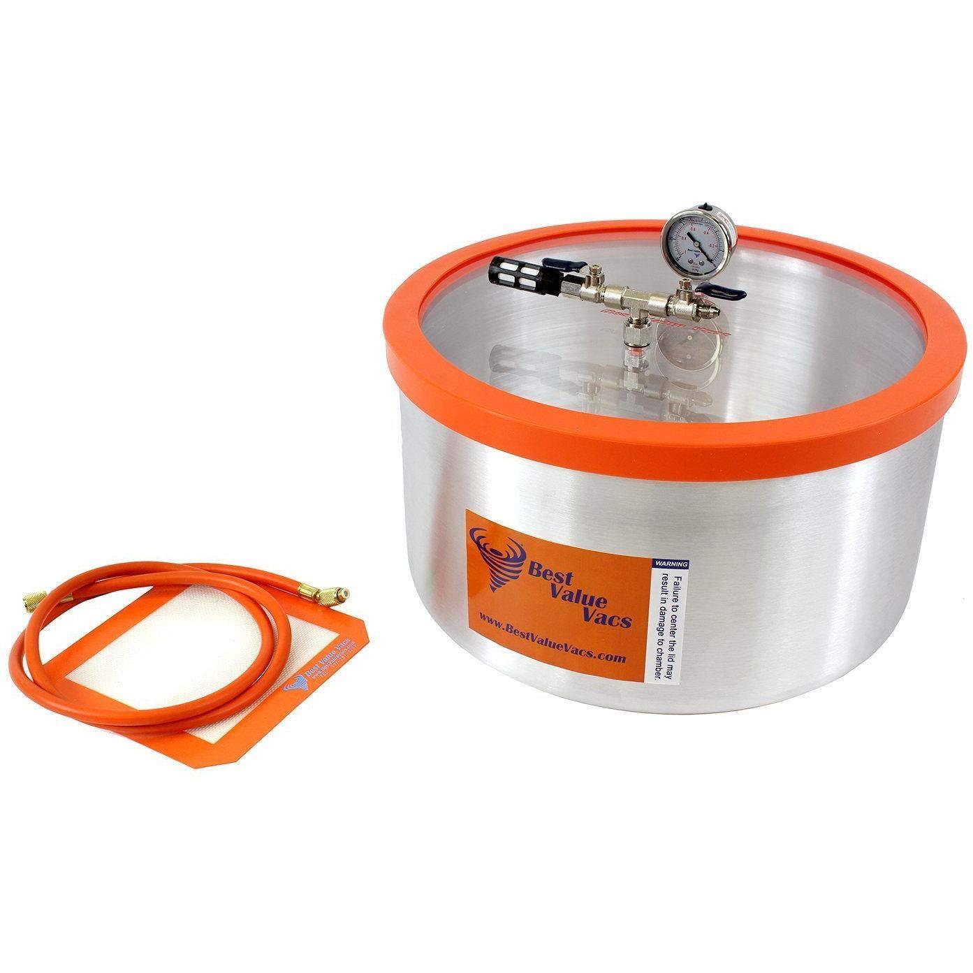BVV 7 Gallon Aluminum Vacuum Degassing Chamber with Acrylic Lid