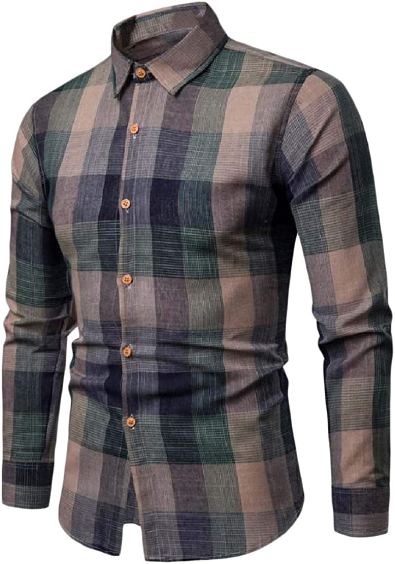 Aooword Mens Tops Plaid Colortone Woven Classic Button-Down-Shirts