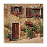 iPrint Polyester Square Tablecloth,Tuscan,Picturesque Lane With Mediterranean Architecture Flowers Italian Town,Brown Light and Brown,Dining Room Kitchen Picnic Table Cloth Cover,for Outdoor Indoor