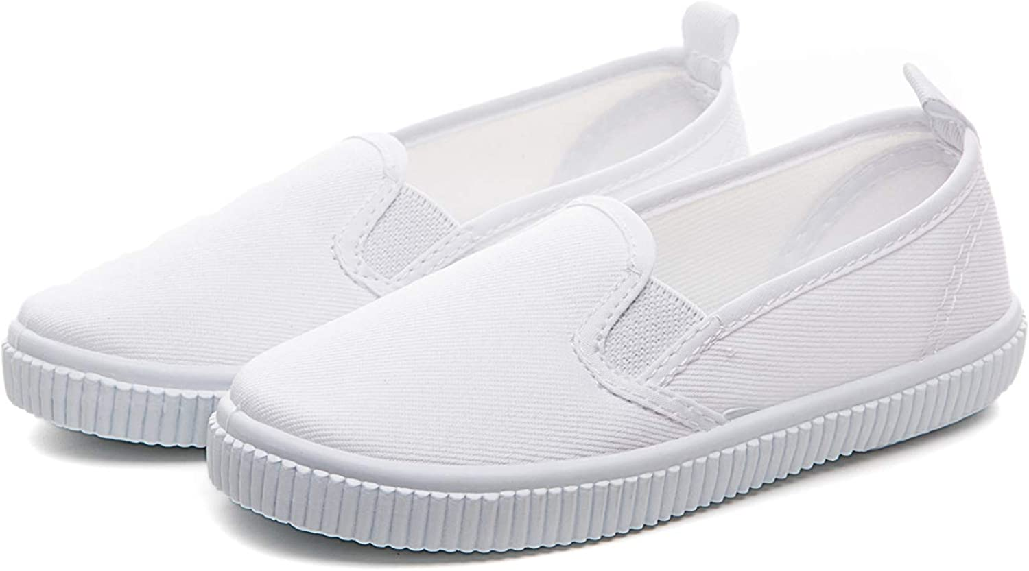 Je-Gou Boys Girls Classic Canvas Slip On Fashion Sneaker Skate Tennis Shoes