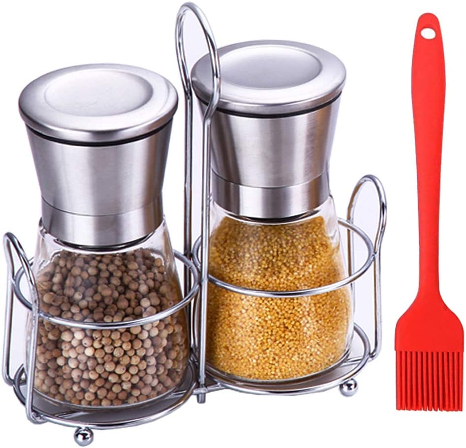 Hvanam Salt And Pepper Grinder Set ,Adjustable Dual Sea Salt Grinder Refillable Stainless Steel Glass Shaker 2 in 1 Manual Spice Pepper Mill Crusher With Stand And Silicone Brush