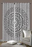 Indian Cotton Elephant Mandala Window Door Cover Curtain Hanging Drape Portiere 92 x 82 Inch By Traditional India For Sale