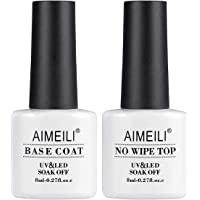 AIMEILI UV LED Gel-lack nagellack, Base Coat & No Wipe Top Coat, underlack & överlack set gel 2 × 8 ml