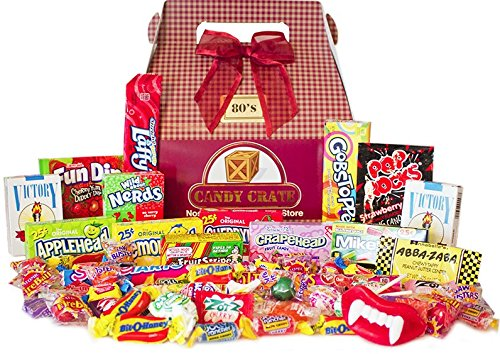Candy Crate 1980's Decade Candy Gift Box - Over 2 Pounds of Nostalgic Favorites - Burgundy Box