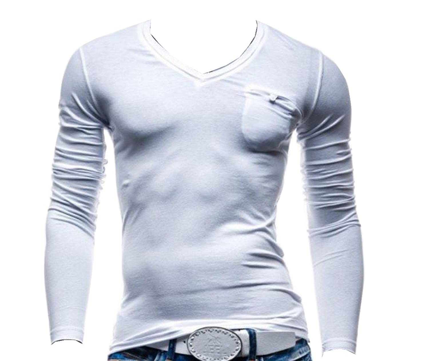 Sheng Xi Men's Casual Solid Slim Fit With Pocket FashionT-Shirt Tops