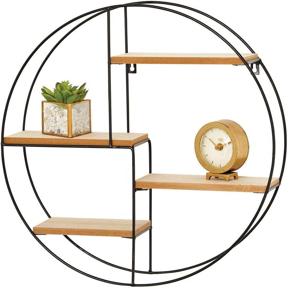 mDesign Round Metal Wall Mount Display Organizer Holder, 4 Shelf - to Store and Show Off Small Collectibles, Figurines, Mugs, Succulent Plants - Black/Natural