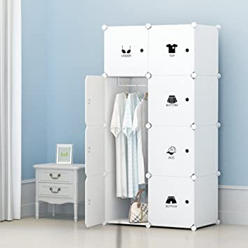 Portable Clothes Closet Wardrobe by KOUSI-Freestanding Storage Organizer  with doors , large space and