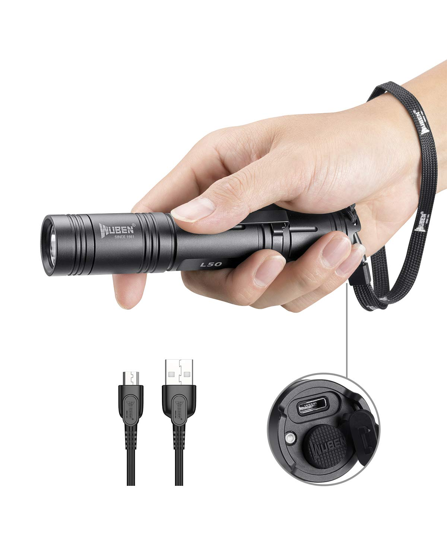 Wuben torcia LED tattica torcia 1200lumen ultra luminosi, batteria ricaricabile 18650batteria (inclusa) IPX8impermeabile, CREE XPL2LED 5modalità luce per campeggio, sicurezza, uso di emergenza product image