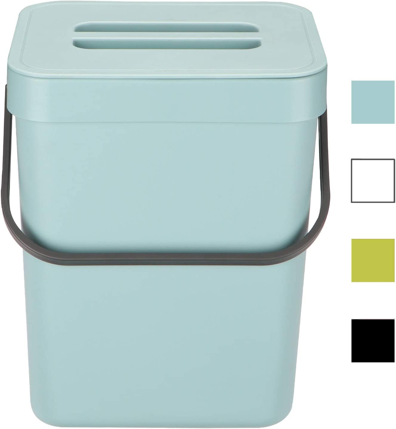 HOMWE Kitchen Compost Bin for Countertop or Under Sink Composting, 1.3 Gallon, Indoor Home Trash Can with Removable Airtight Lid, Storage Hook Hanger, Aqua Plastic