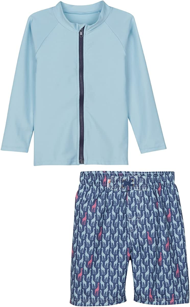 SwimZip Boy Long Sleeve Zipper Rash Guard Swimsuit Set Zoo Animal Blue 3-6 Month