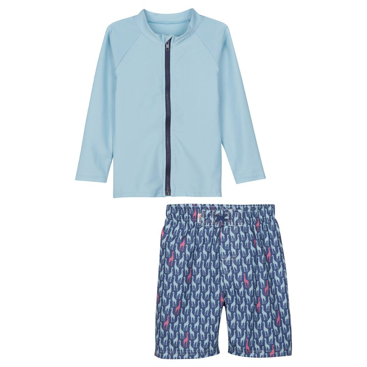 SwimZip Zipper Long Sleeve Rash Guard Swimsuit Set Zoo Animal Blue SZIZOOAMINALRGSLS01