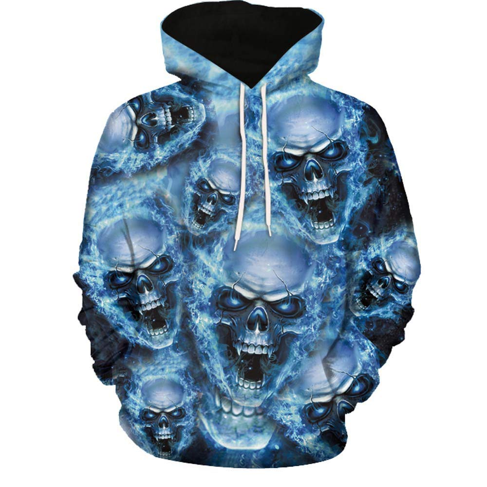 Unisex Fashion Galaxy 3D Digital Printed Pullover Hoodies Hooded Sweatshirts for Sport and Party Blue by Mens Hoodies F_Gotal
