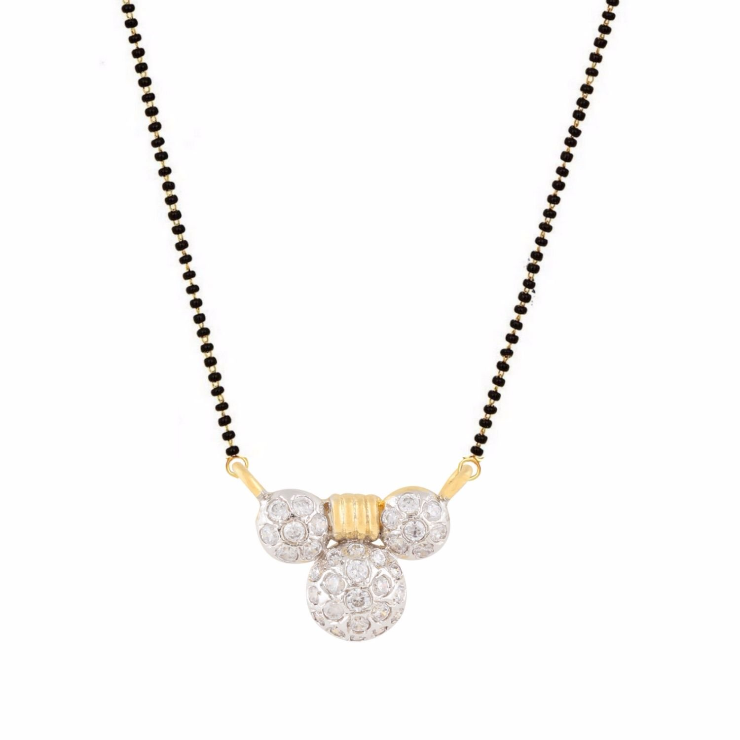 Efulgenz Indian Bollywood Traditional Gold Plated American Diamond CZ Mangalsutra Pendant Necklace Jewelry for Women
