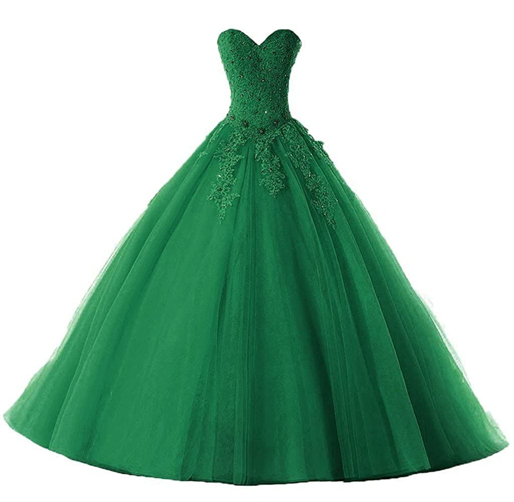 Emerald Vantexi Women's Elegant Lace Tulle Prom Ball Gown Quinceanera Dresses
