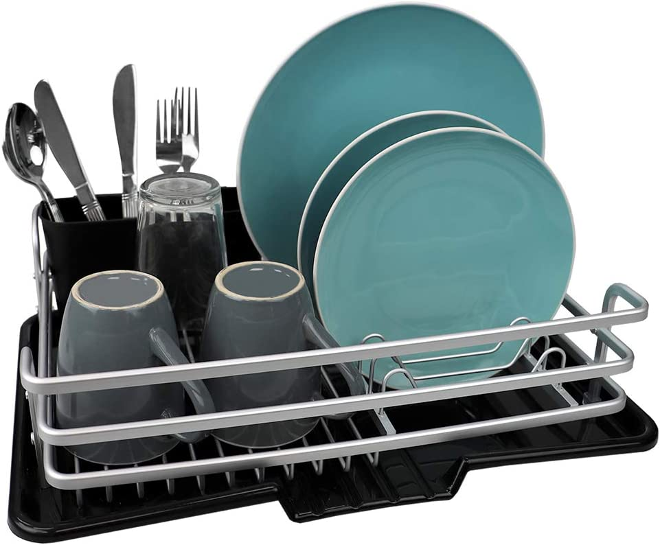 Home Basics, Black Aluminum Dish Rack with Side Mounting Cutlery Holder, 15.75'' x 6.25'' x 1.75