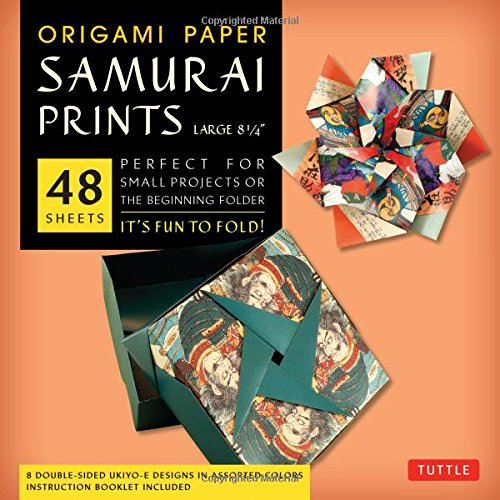 "Origami Paper - Samurai Prints - Large 8 1/4"" - 48 Sheets: Tuttle Origami Paper: High-Quality Origami Sheets Printed With 8 Different Designs: Instructions For 6 Projects Included"
