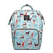 Starte Deer Cartoon Diaper Bag for Mom/Dad,Waterproof Travel Backpack,Spacious Tote Shoulder Bag Organizer,Blue