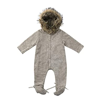 9c3078b1e166c Holywin Winter Infant Baby Boy Girl Hooded Romper Jumpsuit Knit Warm  Outerwear Clothes: Amazon.co.uk: Clothing