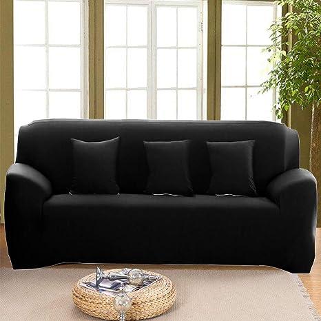 Tremendous Inmozata Sofa Covers 3 Seater 1 Piece Polyester Spandex Elastic Sofa Slipcovers Protector Washable Black Ibusinesslaw Wood Chair Design Ideas Ibusinesslaworg