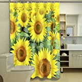 "ChezMax 3D Beautiful Sunflowers Waterproof Bathroom Fabric Shower Curtain with 12 Hooks 65"" W x 70"" L"