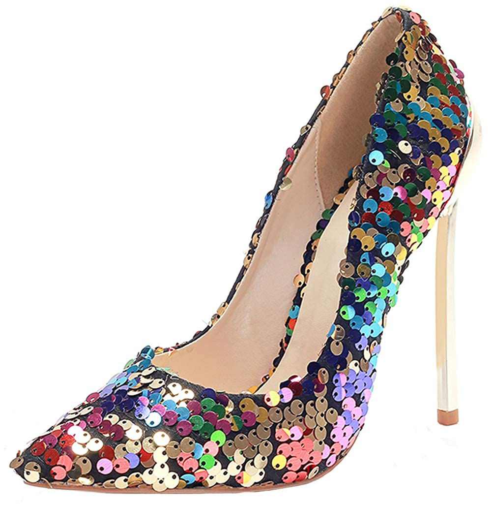 Charmstep Pumps Damen Stiletto High Heels Pailletten Party Prom Abendschuhe CX242