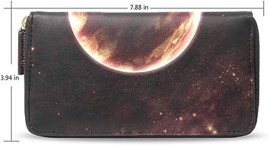 Women Wallet Purse Space Galaxy Stars Universe Clutch Bag Leather