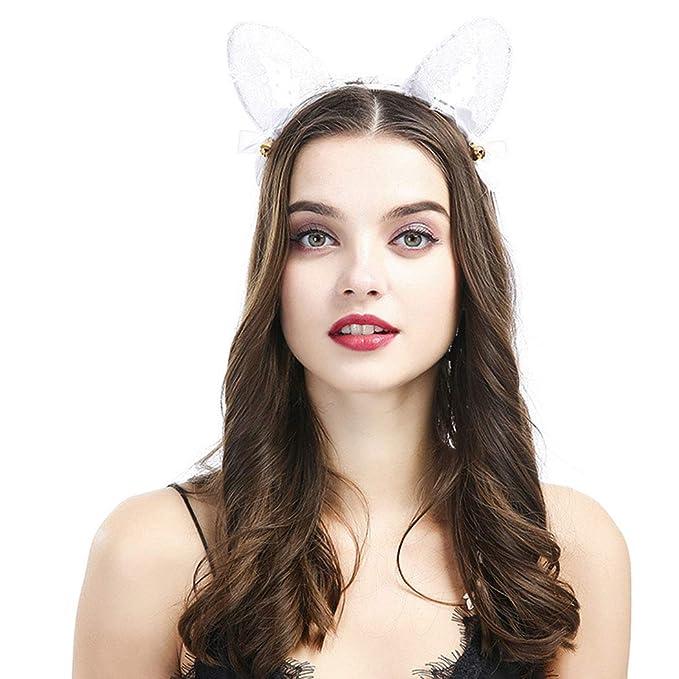 Women Lady Girls Kids Cute Cat Kitty Costume Ear Party Lace Hair Head Band UV