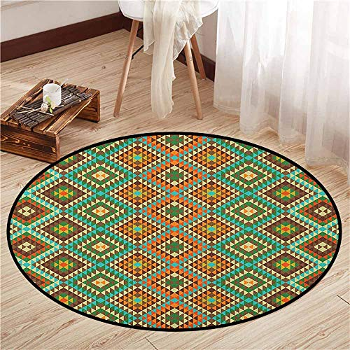 (Indoor/Outdoor Round Rugs,Earth Tones,Traditional Mexican Design with Folkloric Accents Geometric and Retro Styled,Anti-Slip Doormat Footpad Machine Washable,4'3