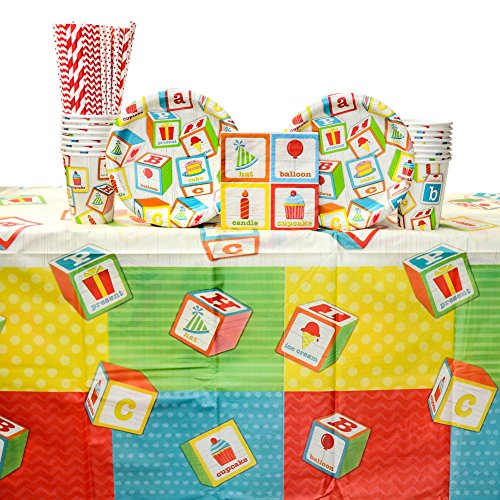 ABC Birthday Supply Pack for 16 Guests: Straws, Dessert Plates, Beverage Napkins, Cups, Tablecover ()
