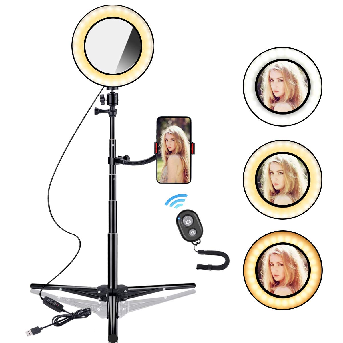 B-Land 6.2'' Ring Light with Tripod Stand & Phone Holder for YouTube Videos, LED Camera Selfie Light Ring with Remote, Vanity Makeup Lights with Mirror, 3 Modes & 10 Brightness