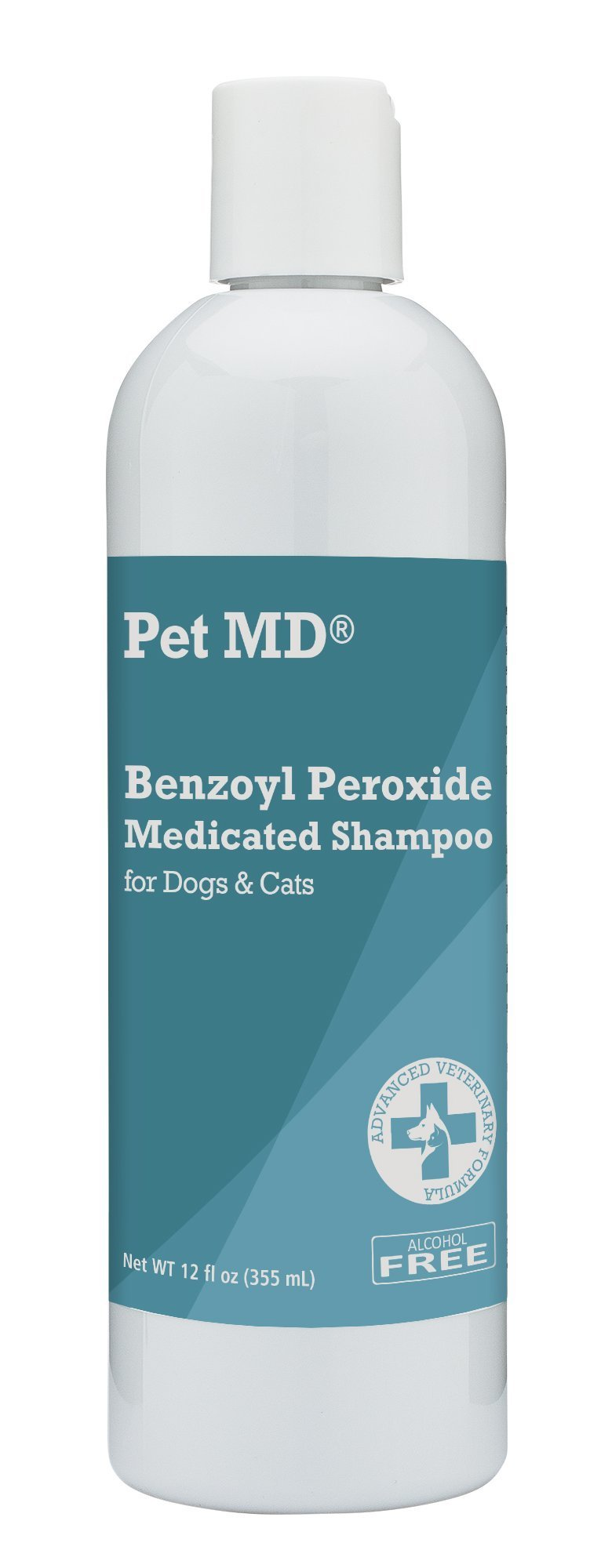 Pet MD - Benzoyl Peroxide Medicated Shampoo for Dogs and Cats - Effective for Skin Conditions, Dandruff, Itch Relief, Acne and Folliculitis - Citrus Scent - 12 oz