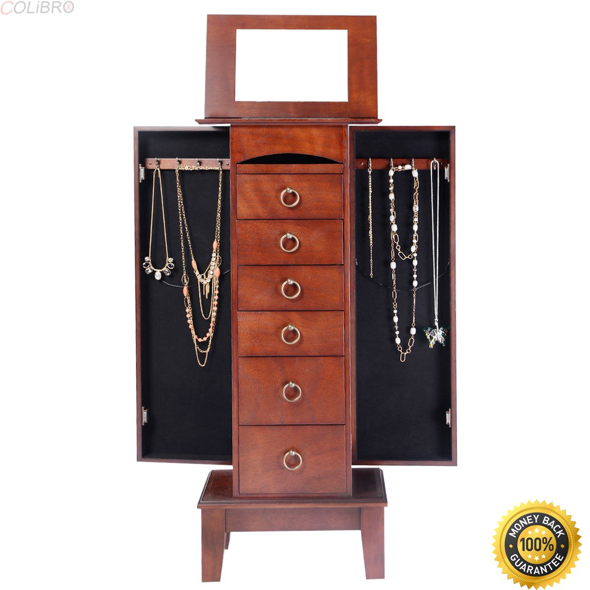 COLIBROX Wood Jewelry Cabinet Armoire Storage Box Chest Stand Organizer Christmas Gift,locking jewelry armoire,locking jewelry armoire floor standing,jewelry box for necklaces,jewelry gift box
