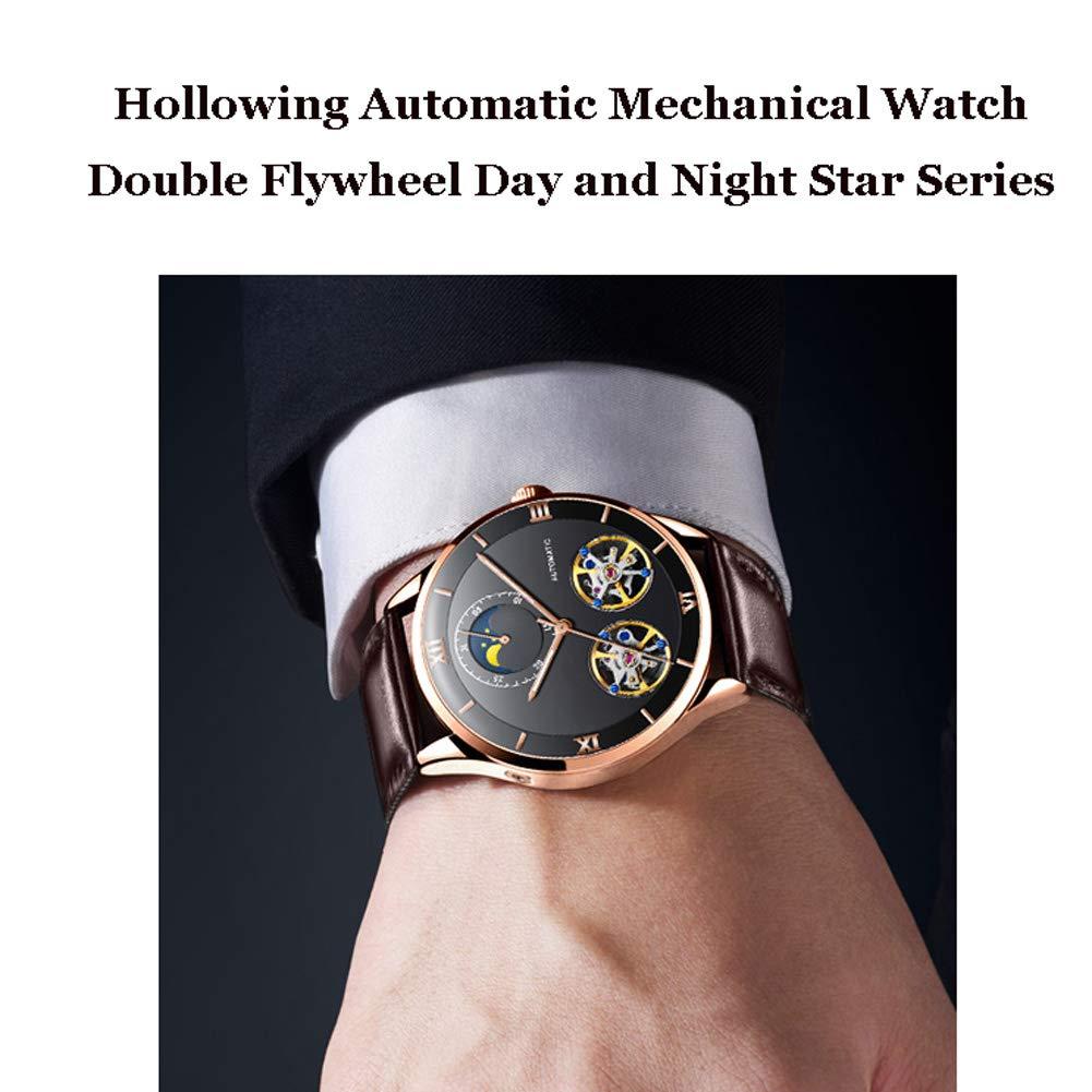 N·XHXL Automatisk mekanisk klocka för män, cool ihåligt dubbelt svänghjul vattentät business casual armbandsur dag och natt stjärna serie manlig klocka a