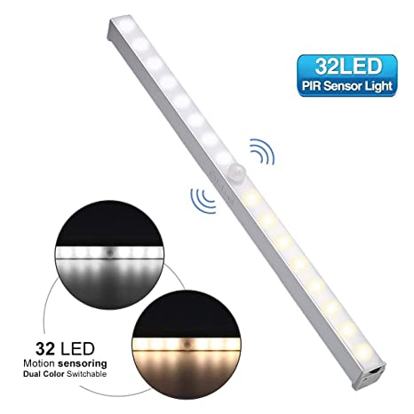 Luz Led Sensor Movimiento,Elfeland Luz de Gabinete Luz de Armario Luz Nocturna Sensor 32