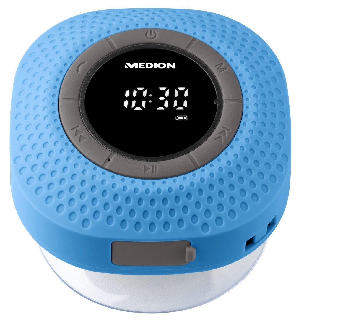 MEDION E66554 Duschradio mit Bluetooth 20 Watt blau eingebauter Akku PLL UKW IPX7