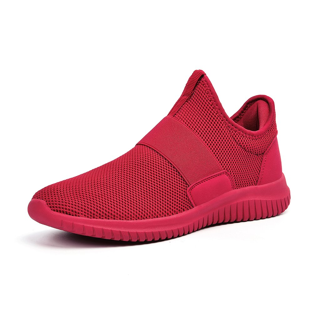 Troadlop Mens Wide Sneakers Slip on Running Casual Lightweight Shoes Red Size 13