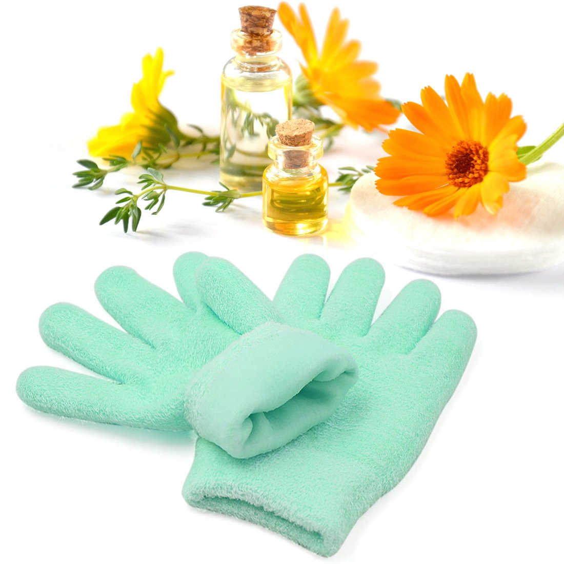 uxcell 1 Pair Soft Moisturizing Gel Gloves Cover Sleeves Dry Rough Cracked Hand Skin Care Comfy Recovery Spa Treatment Gift Set Mint Green US-SA-AJD-136153