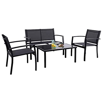 Flamaker 4 Pieces Patio Furniture Outdoor furniture Outdoor Patio Furniture  Set Textilene Bistro Set Modern Conversation Set Black Bistro Set with ...