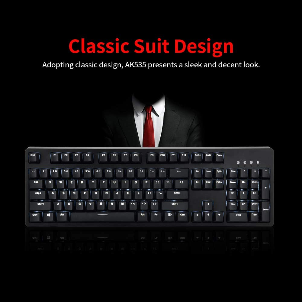 HLOIPYUR 104 Key USB Wired Ergonomic Mechanical Gaming Keyboard Red Switch//Blue Switch Wired White Backlit Keyboard for PC