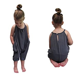 ♥ Nation Toddler Kid Baby Girls Straps Rompers Jumpsuits Piece Pants Clothing (3years)
