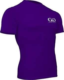 product image for HT-603S-CB Fitness Compression Fit, Short Sleeve Crew Neck Shirt-Track, Soccer, Football, Weight Training, Lacrosse-Sweat Transfer Technology (Medium, Purple)