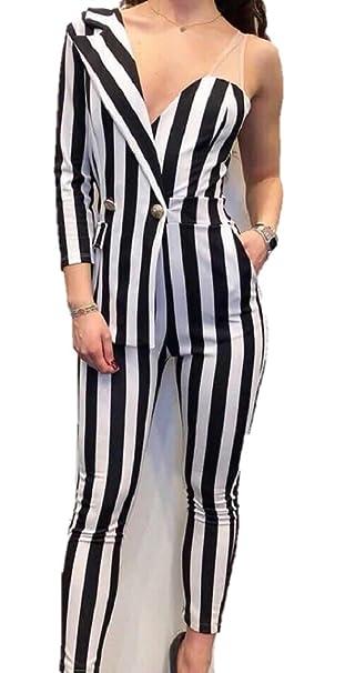 e7f31ff06f0a Pantaloni tuta intera donna elegante mezza giacca a righe bianche e nero  sexy  Amazon.it  Abbigliamento