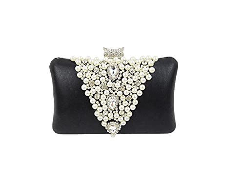 94042e34a4d69 Fashion Faux Pearl Cascading Bead Rhinestone Clutch Black Purses for Women  Evening