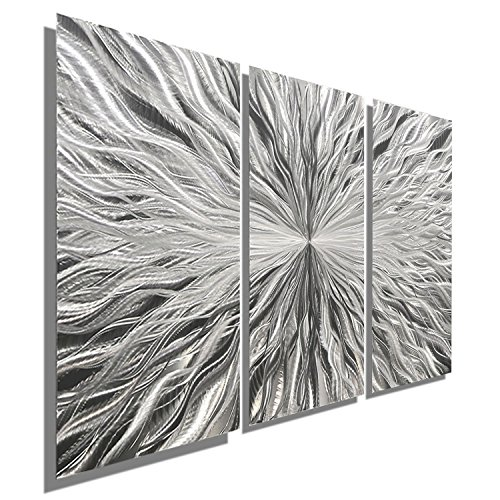 Abstract Painting Metal Wall (Silver Modern Metal Wall Art Sculpture by Jon Allen - Multi Panel Tryptych Home Décor, Vortex 3P, 38