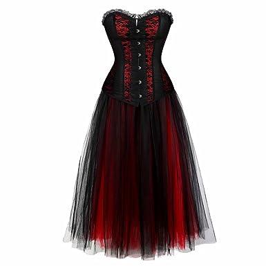Vintage Steampunk Corset Dress Long Victorian Retro Gothic Corset Top  Burlesque Lace Corset and Bustiers Party 869ea1531ad8