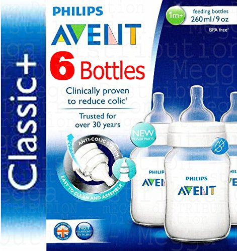 6 x Philips Avent 260 ml en Biberon Anti-Colique Gamme Classic + 0 mois +. Systè me Anti-Colique et sans BPA SCF563/37uk