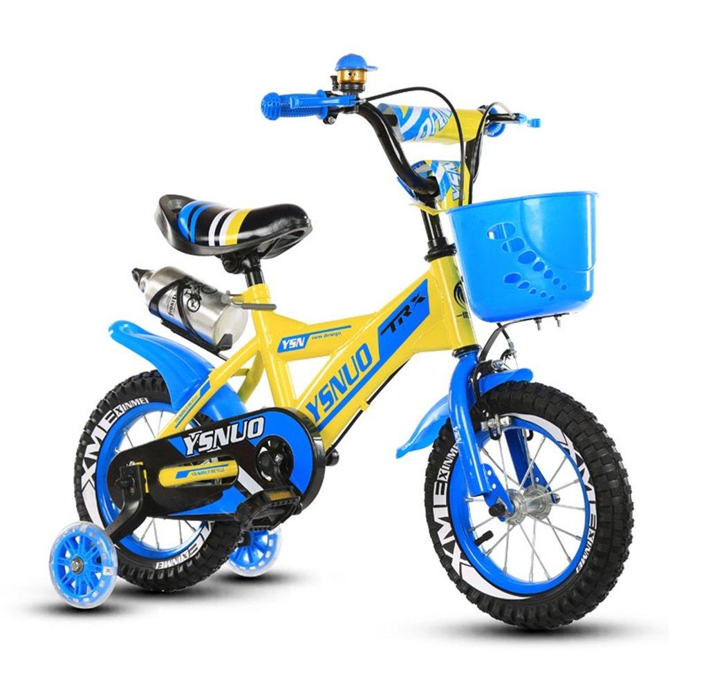 子供の自転車12|14|16|18インチアウトドアの子供ベイビーキッドマウンテンバイクフラッシュトレーニングホイールで2歳から10歳の男の子の女の子の贈り物|ウォーターボトル|プラスチックバスケット安全な負荷50KGブルー B0789N8S9J14 inches