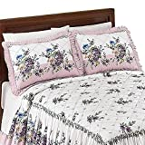 Collections Etc Antique Rose Lavender Ruffle Pillow Sham, Lavender, Sham